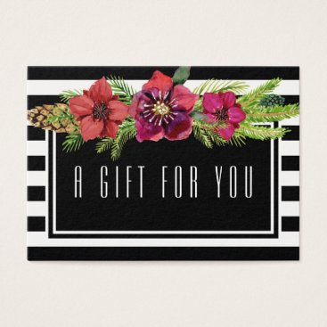 Professional Business Flowers & Stripes Holidays Gift Certificate