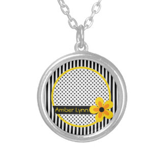 Flowers, Stripes, Polka Dots Yellow, Black, White Silver Plated Necklace