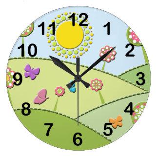 Flowers Sun and Butterflies Clock