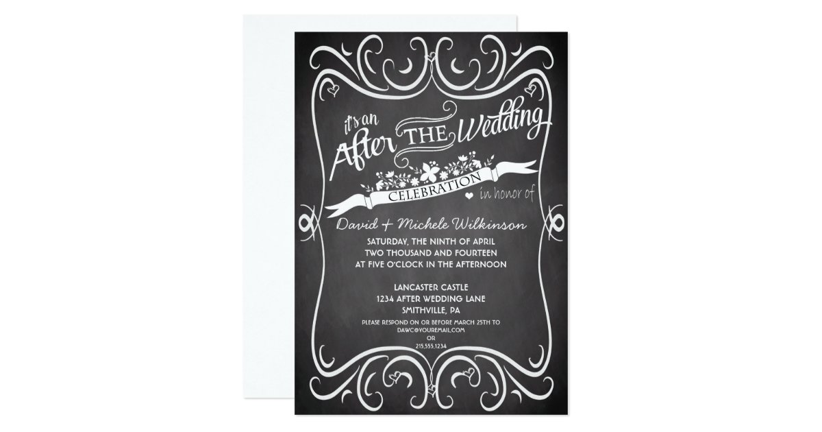 After The Wedding Party Invitations: Flowers & Swirls Chalkboard After Wedding Invite