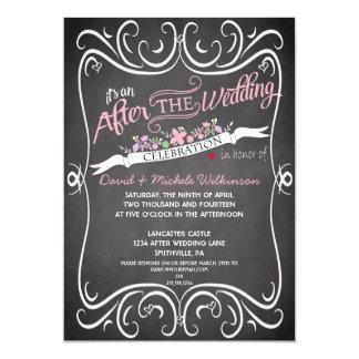"Flowers & Swirls Chalkboard Post Wedding Invite 5"" X 7"" Invitation Card"