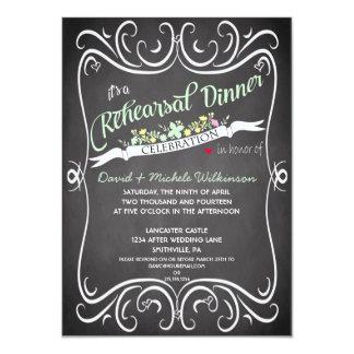 Flowers & Swirls Chalkboard Rehearsal Dinner 4.5x6.25 Paper Invitation Card