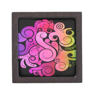 Flowers swirls graphic design jewelry box