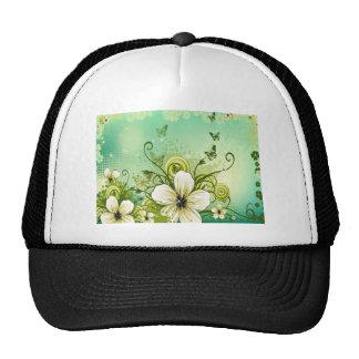 Flowers swirls graphic design trucker hat