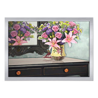 Flowers, Table & Mirror in the Foyer Still Life Card