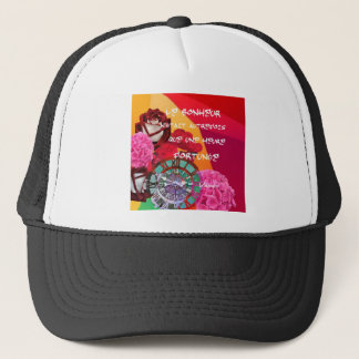 Flowers , time and happiness message. trucker hat