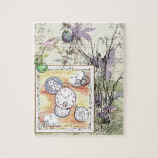Flowers Time Vintage Pocket Watch Drawing Jigsaw Puzzle