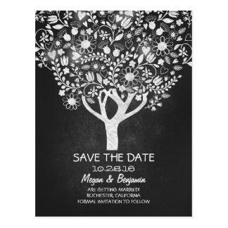 Flowers tree chalkboard save the date postcard