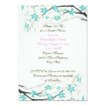 Flowers turquoise, hot pink wedding bridal shower cards