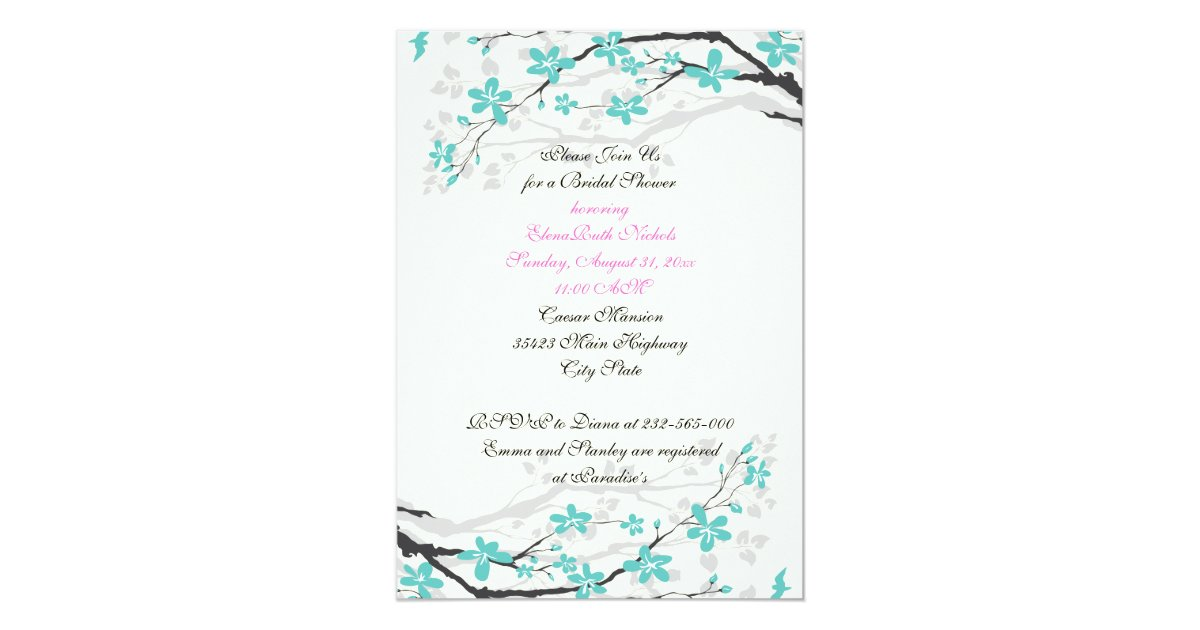 Turquoise And Pink Wedding Invitations: Flowers Turquoise, Hot Pink Wedding Bridal Shower