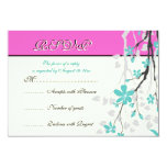 Flowers turquoise, hot pink wedding RSVP card Announcements