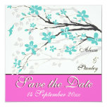 Flowers turquoise, hot pink wedding Save the Date Invites