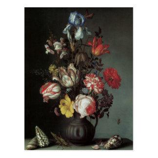 Flowers Vase Shells Insects, Balthasar van der Ast Postcard