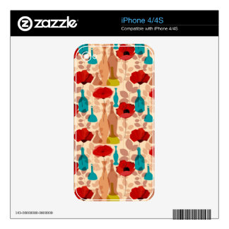 Flowers, vases and bottles pattern iPhone 4S skins