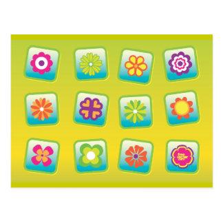Flowers-Vectors COLOURFUL CARTOON PATTERNS Postcard