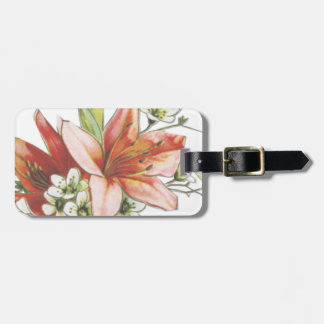 flowers vintage pink white lily victorian bag tag