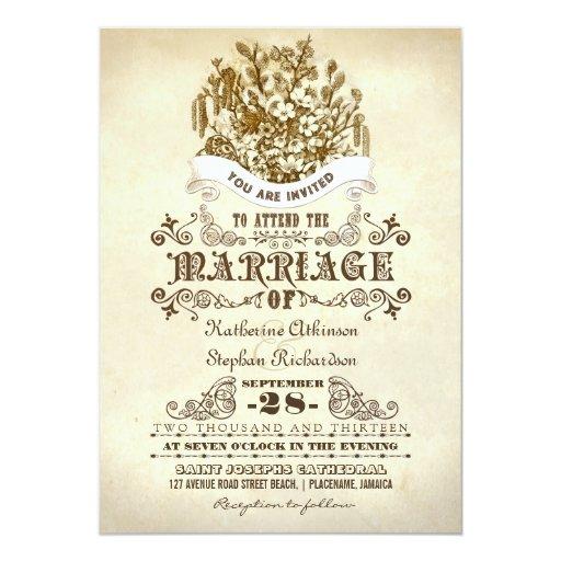 flowers vintage wedding invitations