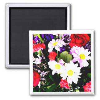 Flowers - Watercolor 2 Inch Square Magnet