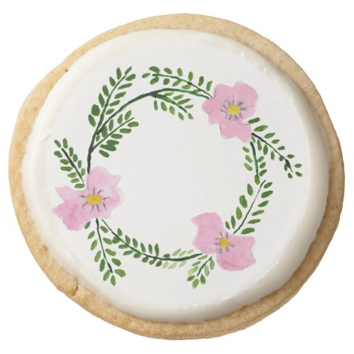 Flowers Watercolor Painted Floral Wreath Round Shortbread Cookie