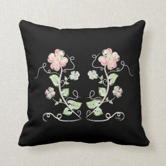 Flowers-Watercolor Pink BlackPink Green Floral Wat Throw Pillow
