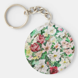 Flowers Watercolour and Pencil Basic Round Button Keychain