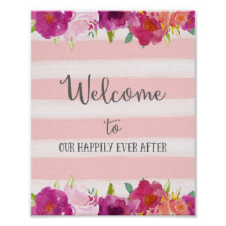 Flowers Welcome Wedding Poster Print