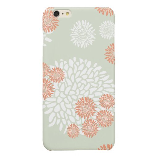 flowers white and orange pattern glossy iPhone 6 plus case