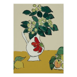 Flowers,White Vase, after Matisse Poster