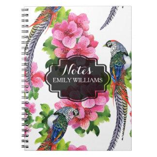 Flowers & wild pheasant birds pattern notebook
