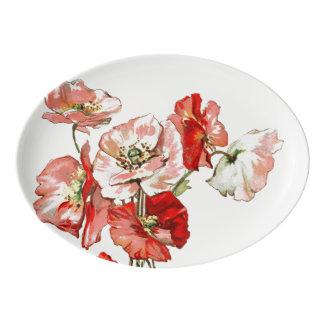 Flowers wild poppy personalize porcelain serving platter