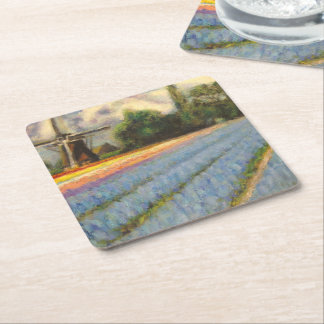 Flowers Windmill Fine Art Triptych image 2 of 3 Square Paper Coaster