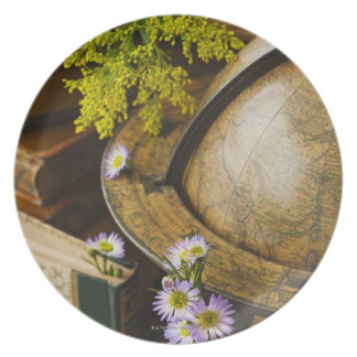 Flowers with antique globe and books plate