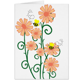 Flowers with bees blank card
