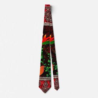 flowers with bird neck tie