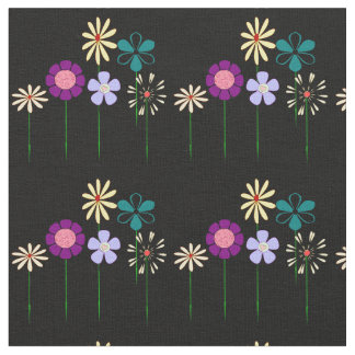 Flowers with Black background Fabric
