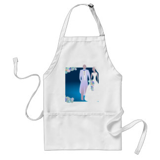 Flowers with Bride & Groom Adult Apron