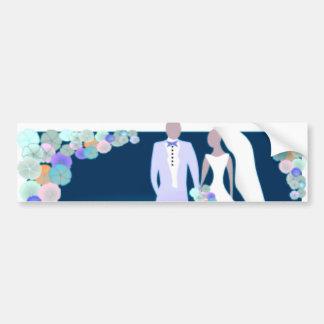 Flowers with Bride & Groom Bumper Sticker
