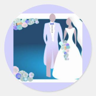 Flowers with Bride Groom Round Sticker