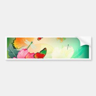 Flowers with butterfly bumper sticker