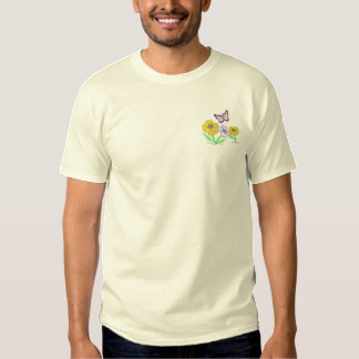 Flowers with butterfly embroidered T-Shirt
