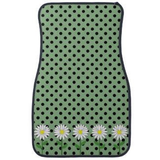 Flowers with Dark Mint Green and Black Polka Dots Car Floor Mat