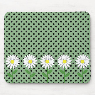 Flowers with Dark Mint Green and Black Polka Dots Mouse Pad