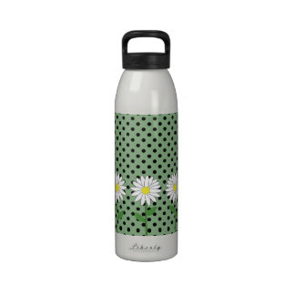 Flowers with Dark Mint Green and Black Polka Dots Reusable Water Bottles