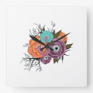 Flowers With Eyes | Halloween Flower With Tongue Square Wall Clock