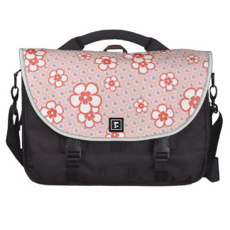 Flowers with hearts and circles(Coral and purple) Laptop Messenger Bag