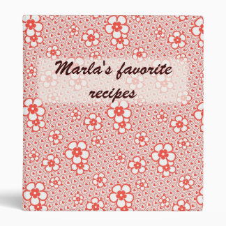 Flowers with hearts and circles (Red and white) 3 Ring Binder