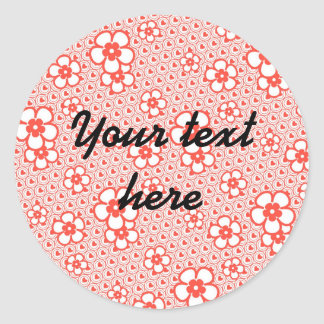 Flowers with hearts and circles (Red and white) Classic Round Sticker
