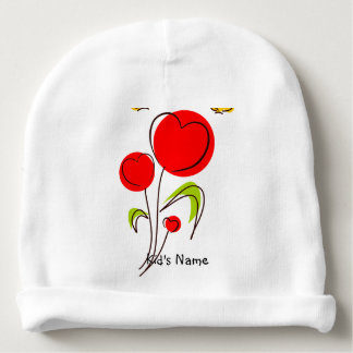 Flowers with Hearts Baby Beanie