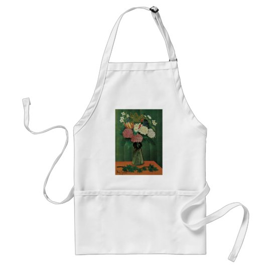 Flowers with Ivy by Henri Rousseau, Vintage Floral Adult Apron