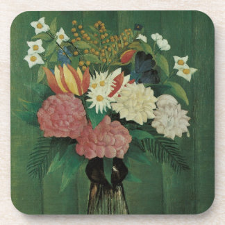 Flowers with Ivy by Henri Rousseau, Vintage Floral Beverage Coaster